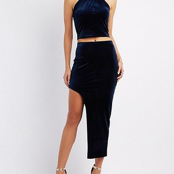 Velvet Bib Neck Crop Top