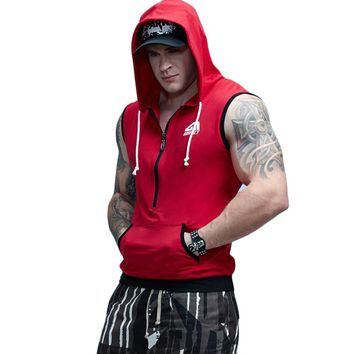 Fit Sleeveless Tapered Zip Crossfit Tank Top Hoodie