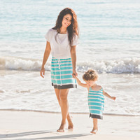 Mothers Day Blue Beach Dress, Beach Cover Up, Mom and Daughter Matching Dress Set, Eco Friendly
