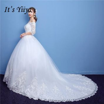It's YiiYa Off White Half Sleeve Boat Neck Sales Wedding Dresses Embroidery Luxury Lace Appliques Court Train Wedding Frock TD09
