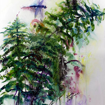 Forest Fern Original Watercolor & Ink 24 by 18 inch by Ginette