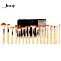 Jessup Brand 25pcs Beauty Bamboo Professional Makeup Brushes Set T135  & Cosmetics Bags Women Bag CB002