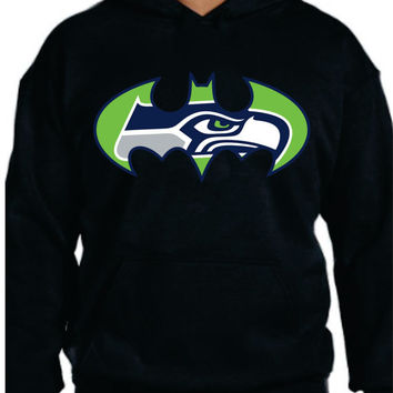 Bat SeaHawks Mens Ladies Unisex Hoodie Super Hero Super Bowl