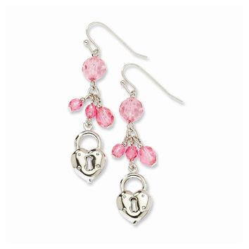 Silver-tone Heart & Lock with Pink Crystals Earrings