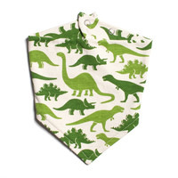 Green Dinosaurs Kerchief Bib by Winter Water Factory