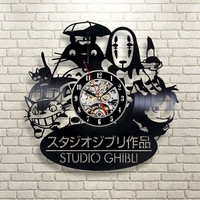 2017 New CD Vinyl Record Wall Clock Modern Spirited Away Studio Ghibli Anime Wall Watch Home Decor Classic Clock Relogio Parede