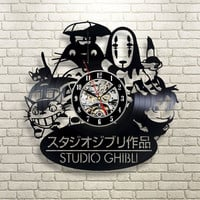 Vinyl Record Wall Clock  Spirited Away Studio Ghibli Anime Wall Watch