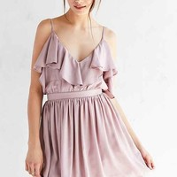 Oh My Love Grecian Frill Cold-Shoulder Mini Dress