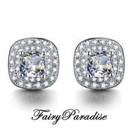 Total 2 ct (1 ct each) Cushion Cut Man Made Diamond Double Halo Earrings,  3 color options ( Clear / Yellow / Pink ) - FairyParadise