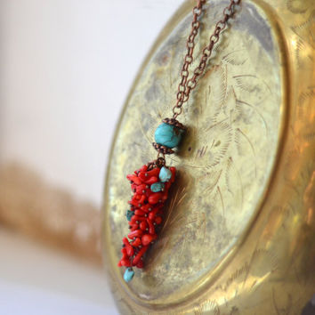 Red Turquoise Necklace & Earrings - Red coral and turquoise - Natural Necklace - Turquoise / Coral Jewelry