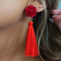 Every Rose Earrings: Red