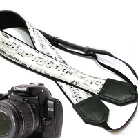 Music camera strap. Black and white Camera strap. dSLR Camera Strap. Camera accessories. Nikon Canon camera strap.