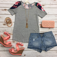 Floral Sleeve Top: Grey