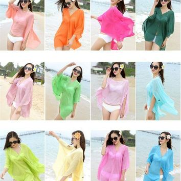 DCCK7N3 VILEAD 15 Colors Summer Tunic Beach Pareos Tunic Skirt Women Sexy Swimsuit Cover Up Beachwear Coverups Sarong Skirt