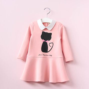 Hurave Baby Girls Doll Collar Print Letters Cartoon Meow Pattern Stitching Dress Kids V-neck Casual Dress Clothes For 2-6 Years