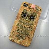 IPhone 4 case,iphone 4s case ,Cute Owl Resin Flower  iphone 4/4s Hard Case,owl on the branch,Brown Woodgrain PU Leather iPhone 4 Hard Case