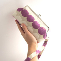 Wristlet clutch purse - violet red dots
