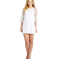 Sugarlips Flower Child Crochet-Sleeve Dress - White