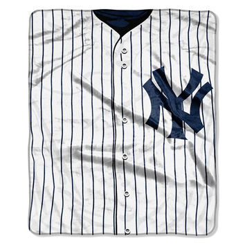 New York Yankees MLB Royal Plush Raschel Blanket (Jersey Series) (50in x 60in)