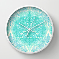 Happy Place Doodle in Mint Green & Aqua Wall Clock by micklyn | Society6