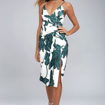C/MEO Enlightened White and Green Print Midi Dress