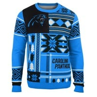 Carolina Panthers NFL 2015 Patches Ugly Crewneck Holiday Sweater
