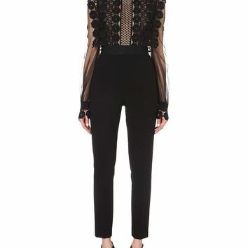 Black Long Sleeve Embroidered Lace Jumpsuit