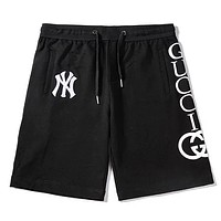 GUCCI x NY co-branded letter rope waistband cotton five points casual shorts Black