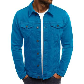 Men's Flap Pockets Solid Color Trucker Jacket
