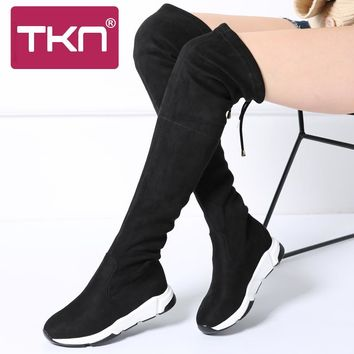 TKN 2017 Women Winter boots Casual sneakers Flat Boots Over The Knee High Boots Creeper Heels Stretch Fabric Boots Ladies A7515