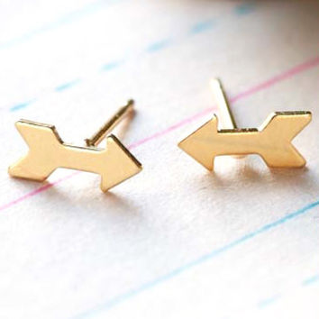Tiny Gold Arrows Earrings