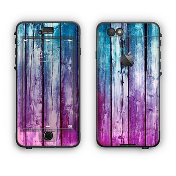 The Pink & Blue Dyed Wood Apple iPhone 6 Plus LifeProof Nuud Case Skin Set