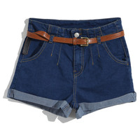 ROMWE | Rolled Cuffs Denim Blue Shorts, The Latest Street Fashion