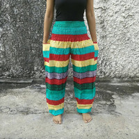 Colorful Trousers Yoga Pants Hippies Baggy Boho Fashion Style Clothing Rayon Gypsy Tribal Clothes For Beach Summer Chic Fashion Men Women
