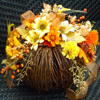 "Fall Floral Arrangement on Natural Twig Pumpkin - ""Bountiful Blessings"", Thanksgiving Centerpiece, Fall Table Centerpiece, Autumn Decor,Fall"