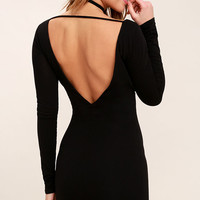Cheers to the Night Black Long Sleeve Bodycon Dress