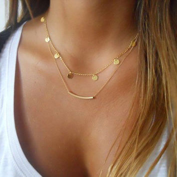 metal round charm chain cute necklace women fashion trendy gold chain choker collar necklace jewelry 3870