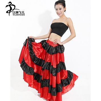 Free shipping Brazil dance costume spanish performance use gypsy robe de Flamenco skirts Belly dance dress red Skirts