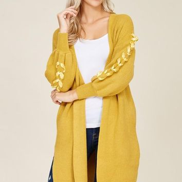 Lacelyn Lace-Up Sleeve Mustard Yellow Open Cardigan