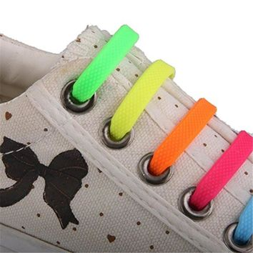 12PCs/ Pack New Unisex Adult Athletic Running No Tie Shoelaces Elastic Silicone Shoe Lace All Sneakers Fit Strap 8 Colors