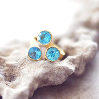 golden zircon stones blue topaz sparkle triple faceted stones golden gemstone cocktail ring delicate feminine israel