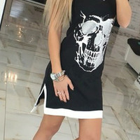 Black And White Skull Print Slit Dress 10030