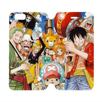 ONE PIECE Wallet Case for iPhone 4/4S 5/5S/SE 5C 6/6S Plus Samsung Galaxy S4 S5 S6 Edge Note 3 4 5