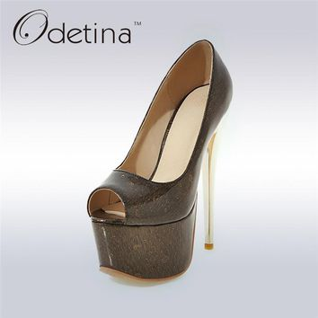 Odetina 2017 New Fashion Extreme High Heels Sexy Peep Toe Women Pumps Platform 16cm Stilettos Party Shoes Summer Big Size 31-48