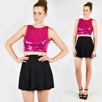 vtg 80s 90s glam metallic PINK SEQUIN trophy open back bodycon CROP cropped tank top dress blouse S