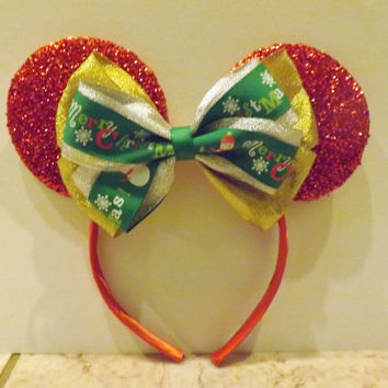 Minnie Mouse headband Red Ears Christmas Holiday Bow gold solver green
