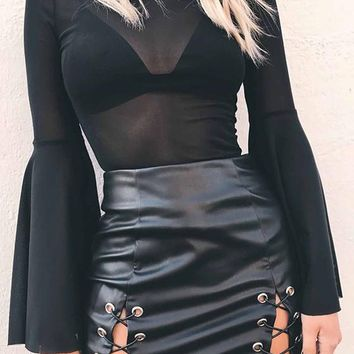 Black Patchwork Cut Out Plus Size PU Leather Zipper Lace Up Cute Skirt