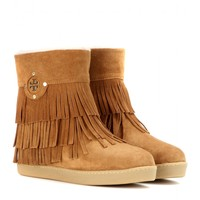 tory burch - collins fringe suede boots