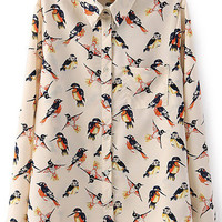 Apricot Birds Printed Lapel Loose Fitting Long Sleeved Blouse