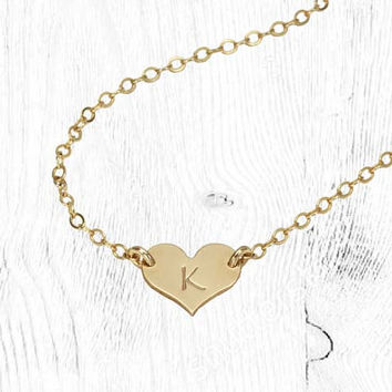 Tiny Initial Heart Necklace, Personalized Choker, Dainty Love Necklace, Charm Heart Pendant, 14K Gold Fill, Sterling Silver or Rose Gold